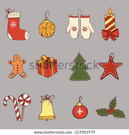 Set of hand drawn Christmas symbols and elements in color