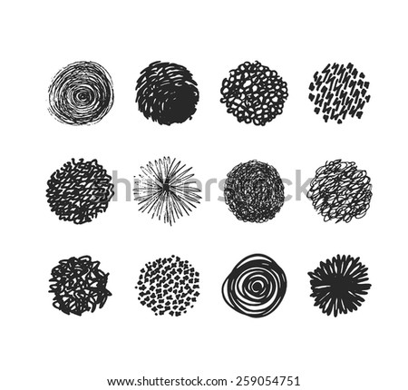 set of hand drawn circles, elements for desicn, vector - stock vector