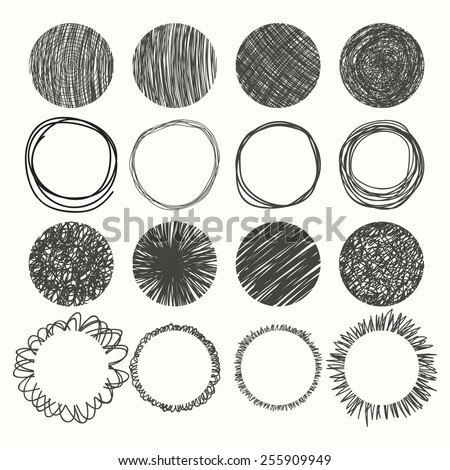Set of hand drawn circles. Vector design elements. Vector illustration - stock vector