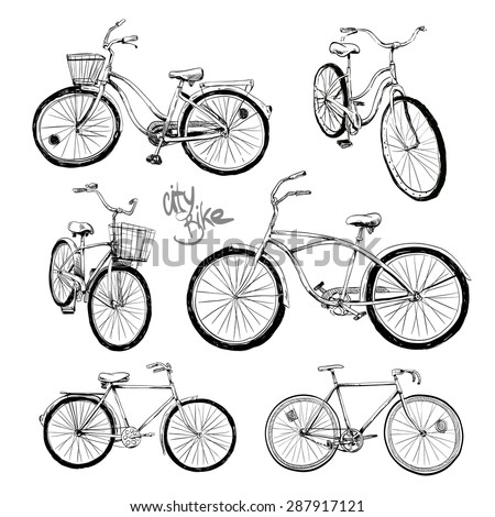 Set of hand drawn city bike, vector illustration - stock vector