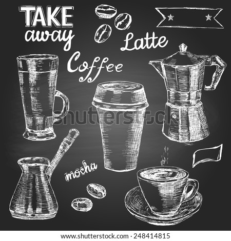 Set of hand drawn coffee cups and items on the blackboard  - stock vector