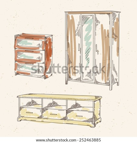 Set of hand drawn colored furniture: wardrobe, commode, shelf for TV - stock vector
