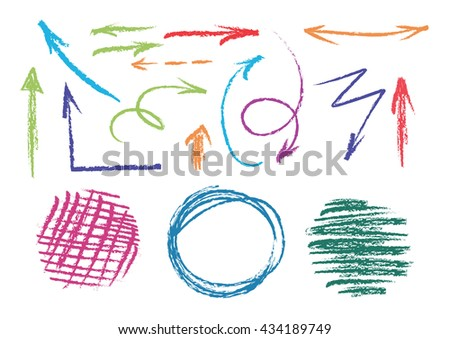 set of hand drawn colorful arrows and circles. vector colored pencils design elements - stock vector
