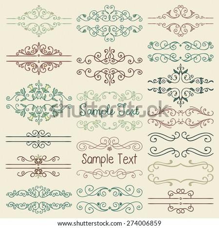 Set of Hand Drawn Colorful Doodle Design Elements. Decorative Artistic Floral Dividers, Borders, Swirls, Scrolls, Text Frames. Vintage Vector Illustration. - stock vector