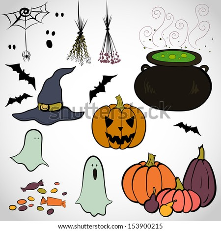 Set of hand drawn colorful halloween doodles. Spooky cartoon ghost, bat, Jack-o'-lantern, cauldron boiling the potion, witch hat, spider, herbs and candies. - stock vector