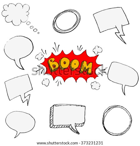 Set of hand drawn comic style speech bubbles isolated on white background. Vector design element. - stock vector