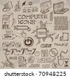 Set of hand-drawn computer icons on crumpled paper (vector) - stock photo