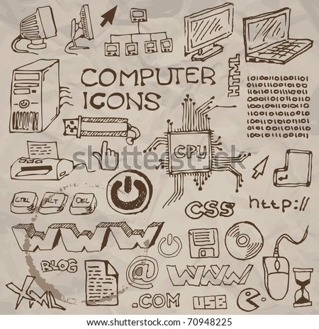 Set of hand-drawn computer icons on crumpled paper (vector) - stock vector