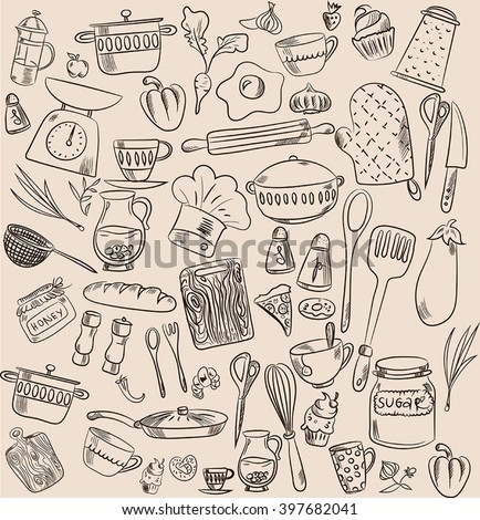 Set of hand drawn cookware. Kitchen background. Doodle kitchen equipments. Vector illustration.