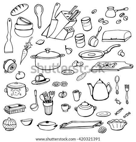 Set of hand drawn cookware. Kitchen background. Doodle kitchen equipments. Vector illustration. - stock vector