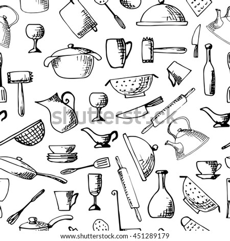 Set of hand drawn cookware. Vector illustration. Seamless pattern - stock vector