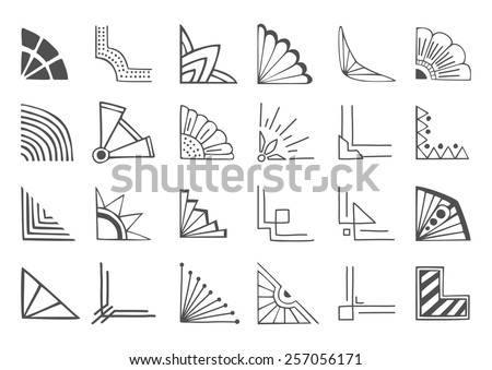 Set of 24 hand drawn corners and design elements - stock vector