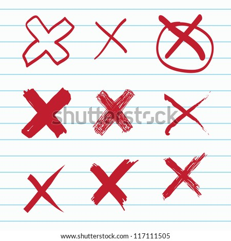 Set of Hand-drawn cross - stock vector