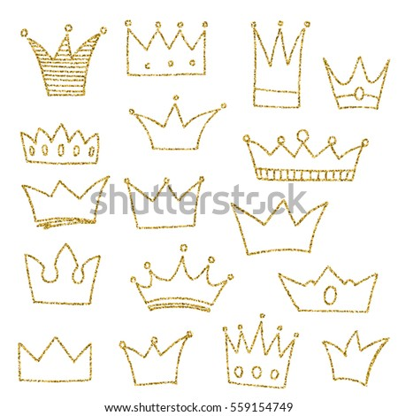 Set of hand-drawn crowns in doodle style. Cold glitter texture. Golden effect.