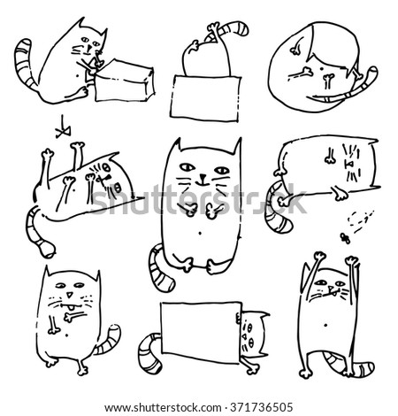 Set of hand drawn cute kittens in various poses, black line. Vector illustration - stock vector