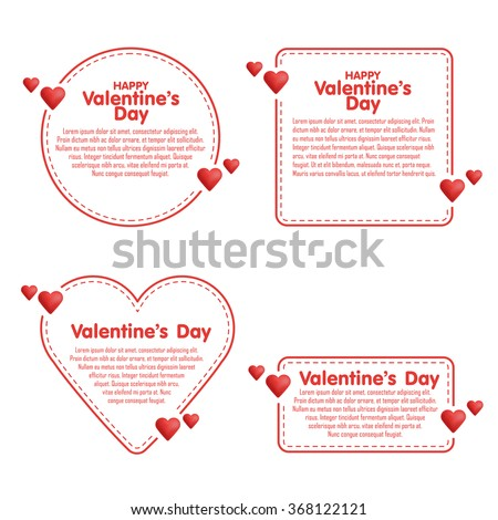 Set of hand drawn dashed line boxes. Doodle style. Quote, commas, message, blank, template. Editable vector. Bubble form Heart - stock vector