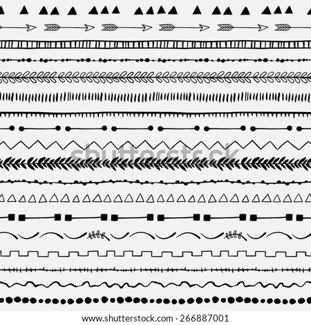 Set of hand drawn decorative borders. - stock vector