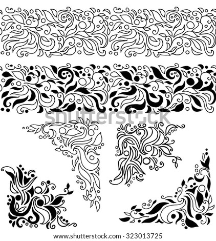 Set Of Hand Drawn Decorative Elements: Seamless Borders And Corner  Decorations With Leaves,