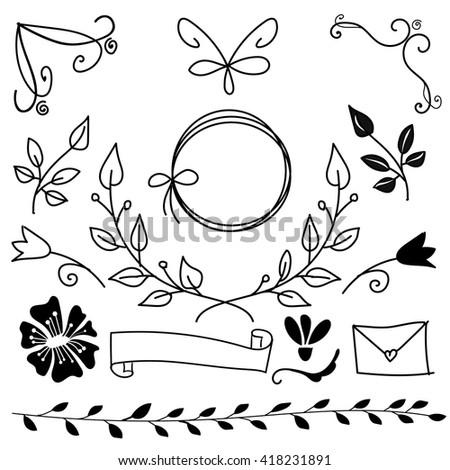 set of hand drawn decorative elements. vector design elements.  - stock vector