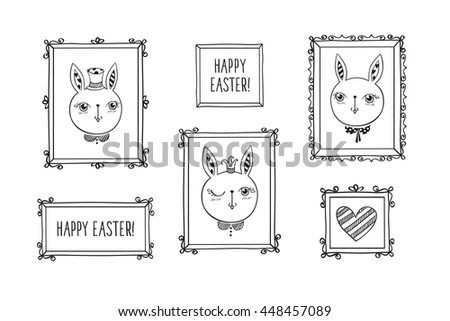 Set of hand drawn decorative square vintage photo frames with cute rabbits and words. Doodles, sketch for your design. Isolated on white. Vector illustration. - stock vector