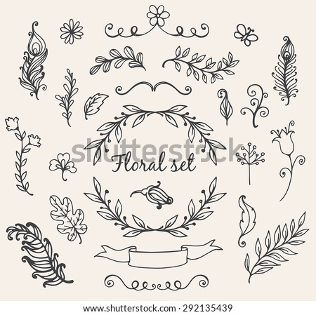Set of hand drawn decorative vector floral elements for design - stock vector