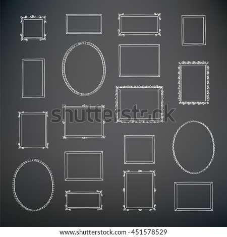 Set of hand drawn decorative vintage photo frames. Hand drawn on the chalkboard. Doodles, sketch for your design. Vector illustration.
