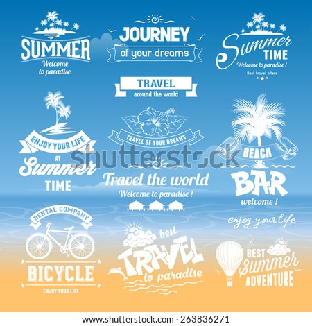 Set of hand drawn design elements for Summer calligraphic compositions. Vintage style. Best for Summer holidays, travel advertising, tropical paradise, weekend tour, beach vacation, adventure labels.  - stock vector