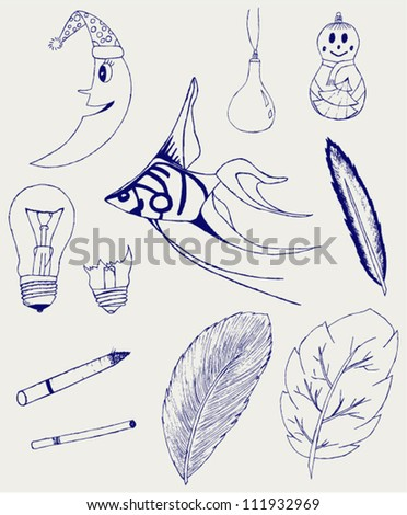 Set of Hand-Drawn Design Elements, Shapes, lightbulb, crescent, cigarette, fish, foliage, christmas toy. Doodle style - stock vector