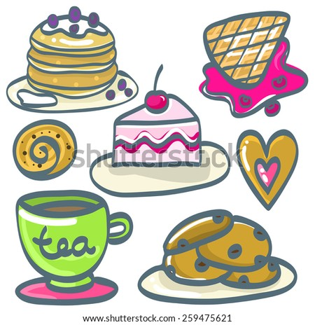 Set of hand drawn desserts. Vector illustration  - stock vector
