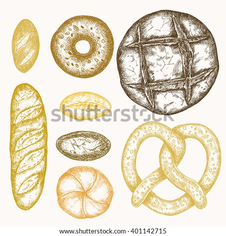 Set of hand drawn detailed engraved bakery products isolated on white background, different kinds of bread in vintage style, including loaf, pretzel, bagel, bun, baguette.  - stock vector
