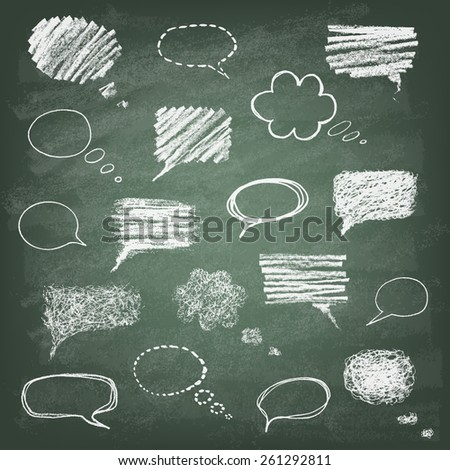 Set of hand-drawn doodle chalk banners on the green blackboard. Talking bubble . Vector illustration. - stock vector
