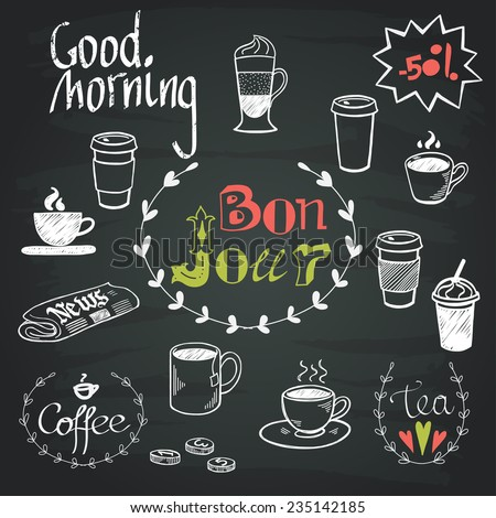 Set of hand drawn doodle coffee break doodles and Good Morning lettering isolated on chalkboard background. Morning newspaper and cup of coffee. - stock vector