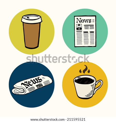 Set of hand drawn doodle coffee break icons isolated on colorful bright circles. Morning newspaper and cup of coffee. - stock vector