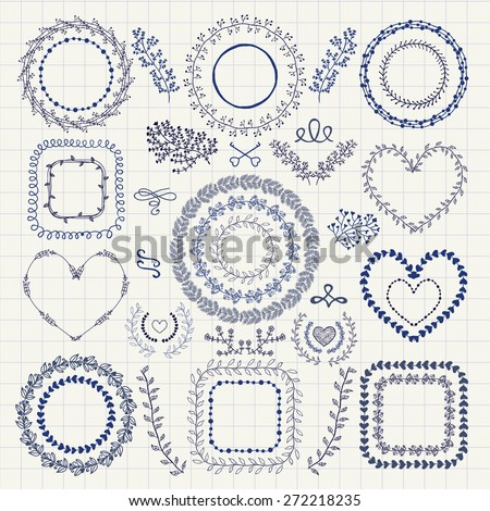 Set of Hand Drawn Doodle Floral Decorative Frames, Borders, Wreaths, Laurels, Branches. Design Elements. Pen Drawing Vector Illustration. - stock vector