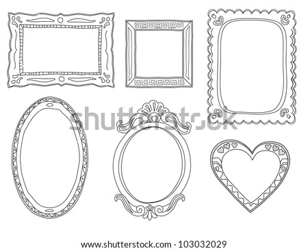 Set  of hand-drawn doodle frames - stock vector