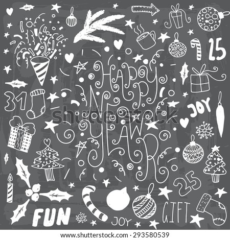 Set of hand drawn doodle icons and letterings. Happy new year and merry christmas. - stock vector