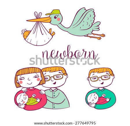 Set of hand-drawn doodle icons happy parents and stork. - stock vector