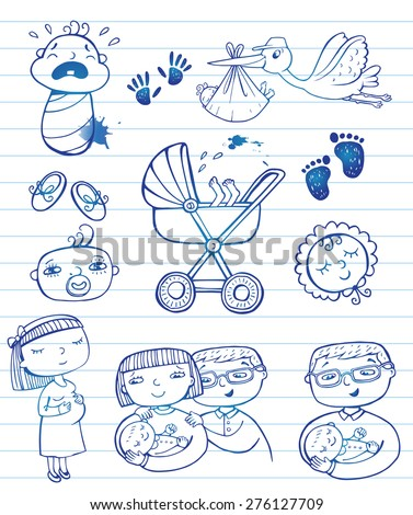 Set of hand-drawn doodle icons happy parents, stork and newborn accessories. - stock vector