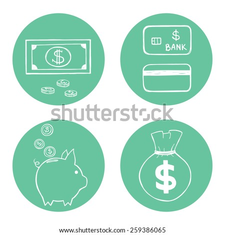 Set of hand drawn doodle money related icons isolated on minty blue circles. - stock vector