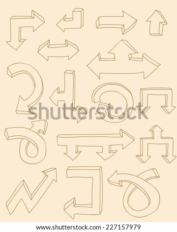 Set of hand drawn doodle style flat vector arrows. Helpful elements for infographic in business, research or account