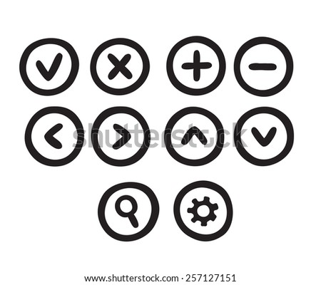 Set of hand drawn doodle style web interface buttons. - stock vector
