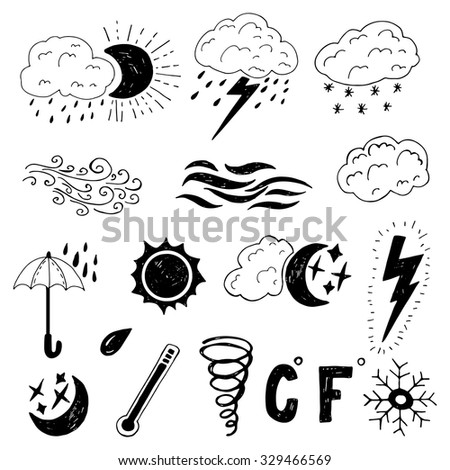 Set of hand drawn doodle weather icons. Simple vector isolated weather photo overlays.