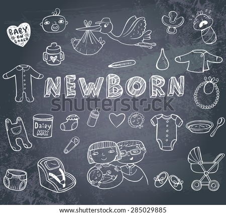 Set of hand-drawn doodles baby toys, food, accessories on a blackboard.. - stock vector