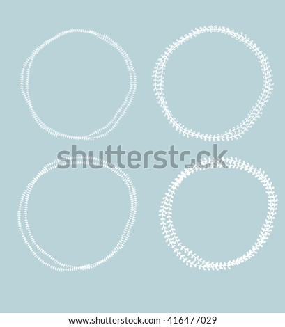 Set of hand drawn drawn floral round frames. Isolated ink illustration. - stock vector