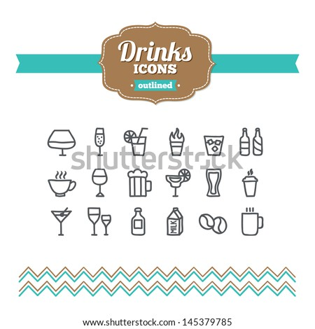Set of hand drawn drinks icons - stock vector