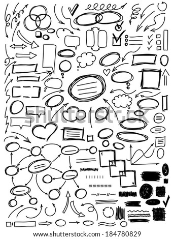 Set of hand drawn elements for design: arrows, circles, talk and think bubbles, charts. Black and white vector illustration.