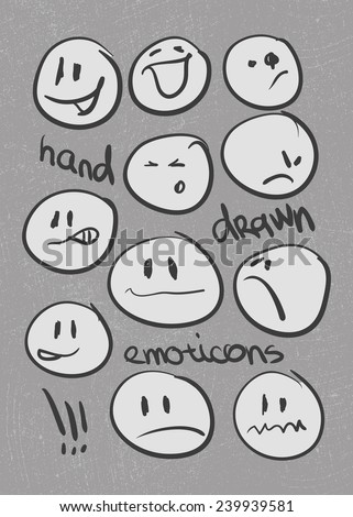 Set of  hand-drawn emoticons . Vector illustration - stock vector