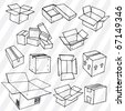 Set of Hand Drawn Empty Packages Outline - stock vector