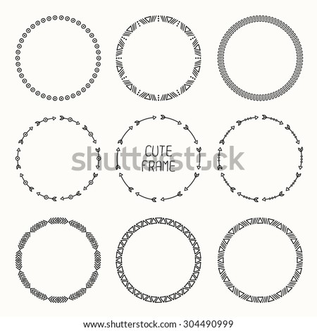 Set of hand drawn ethnic arrows frame. Doodles style. Tribal native aztec vector illustration. Decorative isolated elements, border, label for text. Ink collection of symbols.  - stock vector