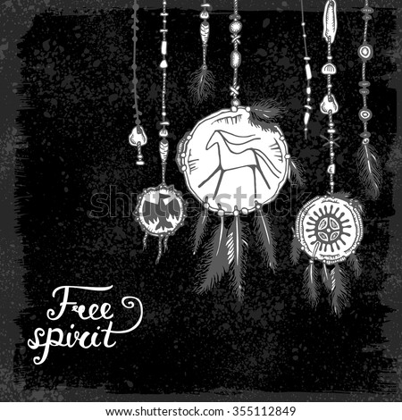 """Set of hand drawn ethnic feathers & jewelry pendants and text on black background. """"Free spirit"""". Vector illustration with ink ethnic elements american indians isolated on black background. Tribal  - stock vector"""